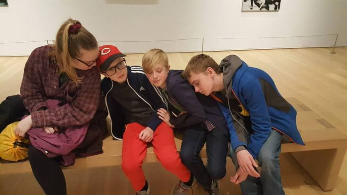 art museum kids asleep